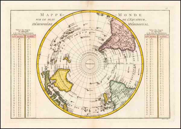 Southern Hemisphere, Polar Maps and Oceania Map By Rigobert Bonne