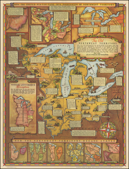 12-Midwest Map By Fred Rentscher / Federal Art Project, WPA