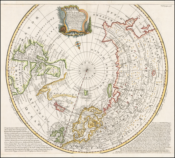 78-Northern Hemisphere, Polar Maps and Canada Map By Emanuel Bowen