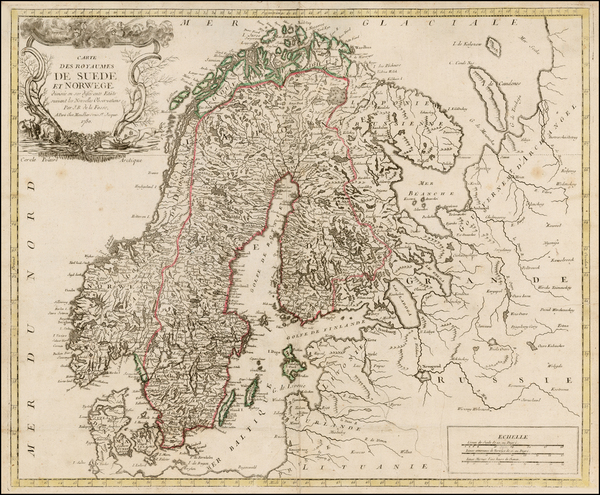 35-Scandinavia Map By Louis Joseph Mondhare / J. B. De La Fosse
