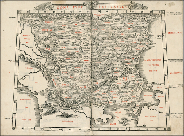 42-Romania, Balkans, Greece and Turkey Map By Bernardus Sylvanus