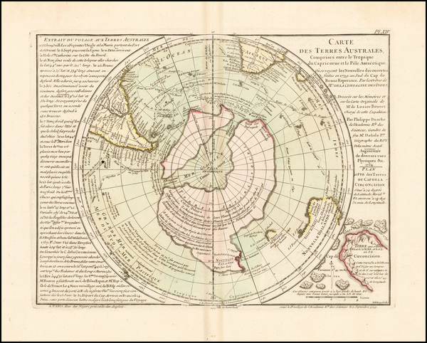 45-Southern Hemisphere, Polar Maps and New Zealand Map By Philippe Buache