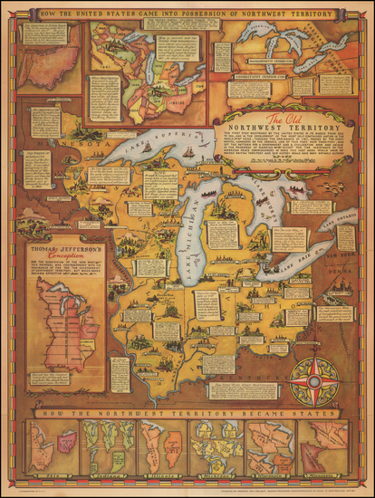 29-Midwest Map By Fred Rentscher / Federal Art Project, WPA
