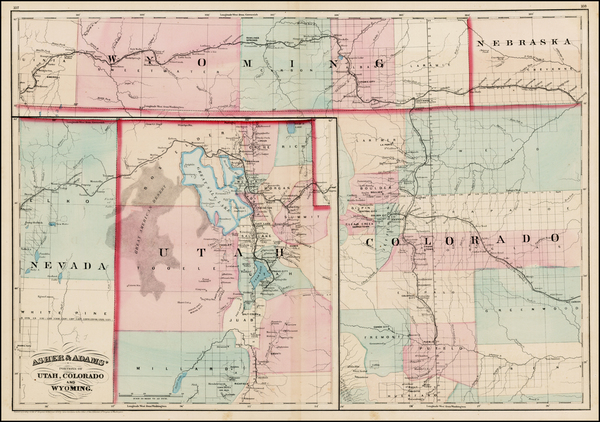 32-Plains, Southwest, Rocky Mountains, Colorado and Utah Map By Asher  &  Adams