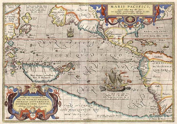 13-World, Polar Maps, South America and America Map By Abraham Ortelius