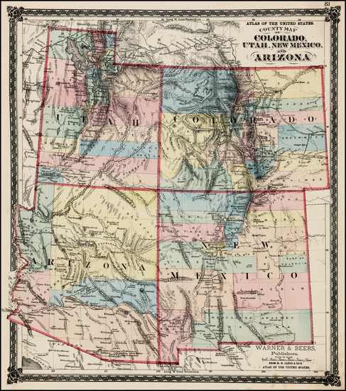 2-Southwest, Arizona and Rocky Mountains Map By H.H. Lloyd / Warner & Beers