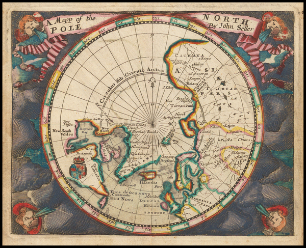3-Northern Hemisphere and Polar Maps Map By John Seller
