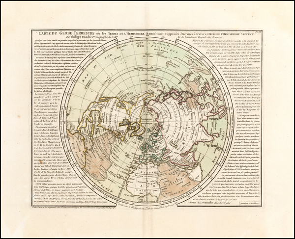 19-World, Northern Hemisphere, Southern Hemisphere and Polar Maps Map By Philippe Buache