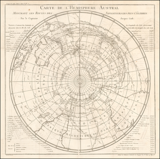 21-Polar Maps, Australia and Oceania Map By Jacques Nicolas Bellin