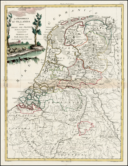 Netherlands Map By Antonio Zatta