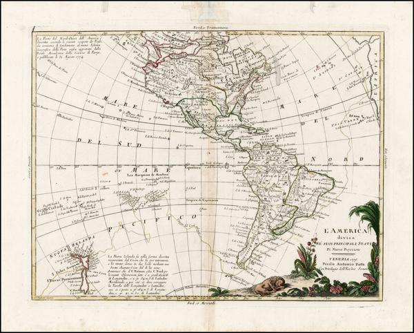 32-South America, Oceania, New Zealand and America Map By Antonio Zatta