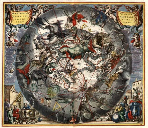 86-World, Eastern Hemisphere, Polar Maps, Curiosities and Celestial Maps Map By Andreas Cellarius