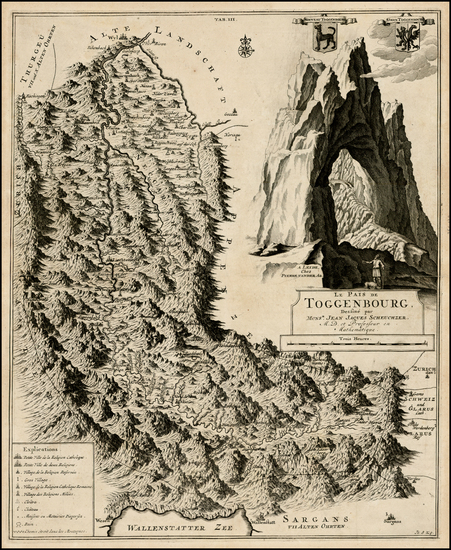 Switzerland Map By Pieter van der Aa