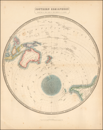 85-World, Southern Hemisphere, Polar Maps, Australia & Oceania, Oceania and New Zealand Map By