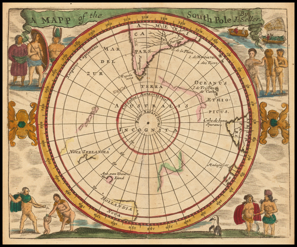 58-Southern Hemisphere and Polar Maps Map By John Seller