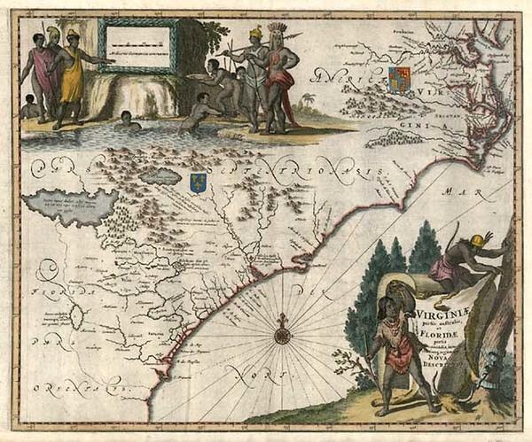 82-Mid-Atlantic and Southeast Map By John Ogilby / Arnoldus Montanus
