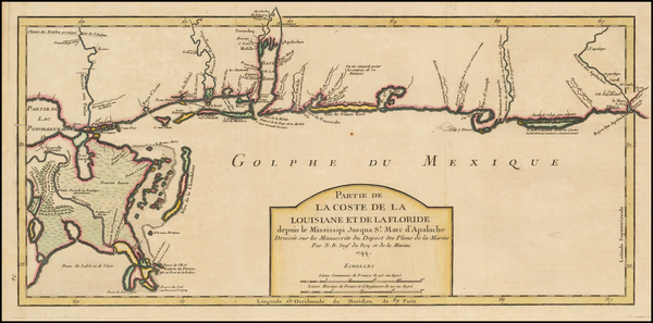 50-South and Louisiana Map By Jacques Nicolas Bellin