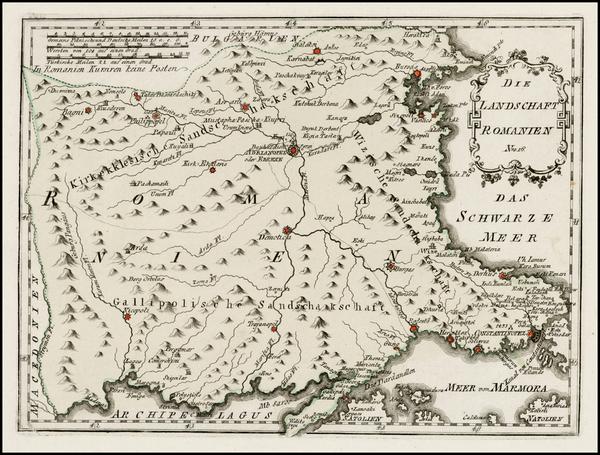 53-Balkans, Bulgaria and Turkey Map By Franz Johann Joseph von Reilly