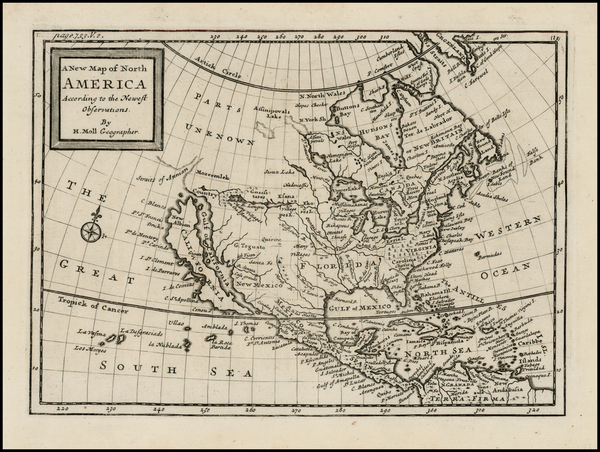 39-North America and California Map By Herman Moll