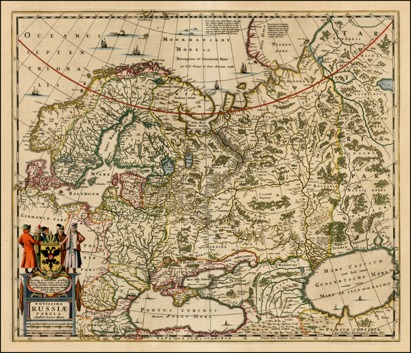 47-Russia, Ukraine, Scandinavia and Russia in Asia Map By Henricus Hondius