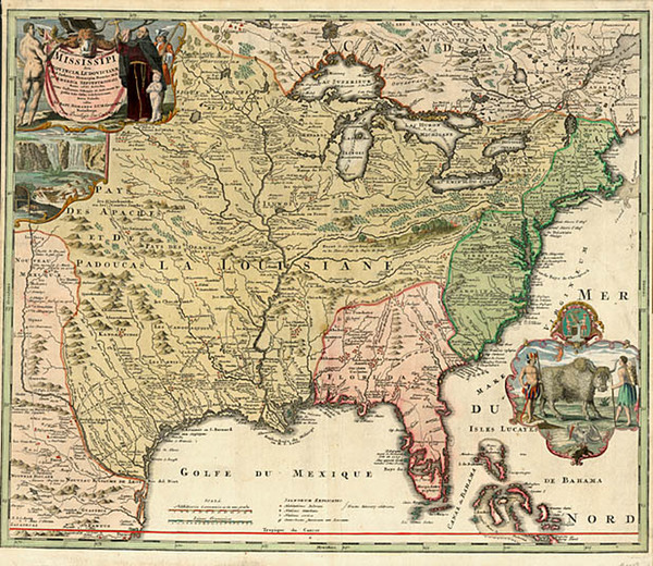 56-United States, South, Southeast and Midwest Map By Johann Baptist Homann