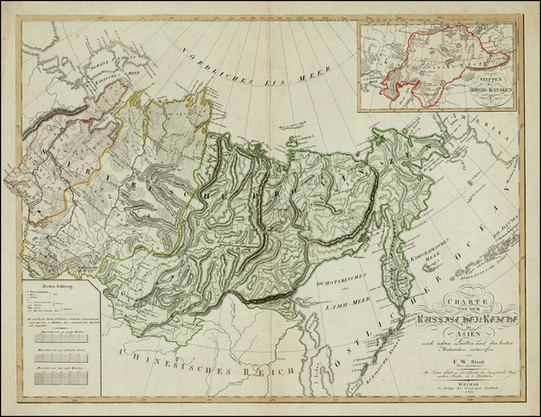 17-Alaska, Central Asia & Caucasus and Russia in Asia Map By Dr. F.W. Streit