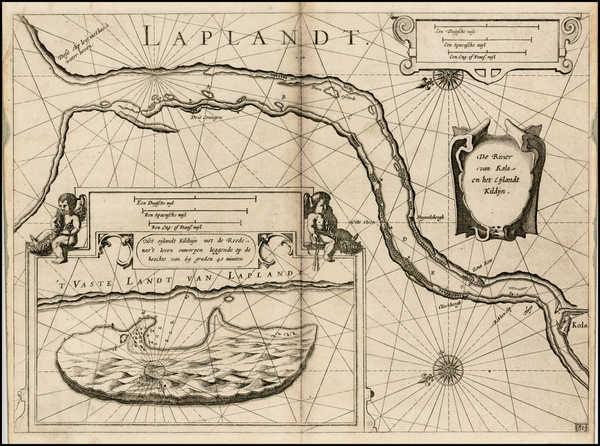 85-Polar Maps, Russia and Scandinavia Map By Willem Janszoon Blaeu