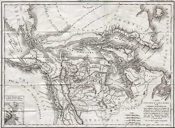 34-World, Polar Maps, Alaska and Canada Map By Pierre Lapie