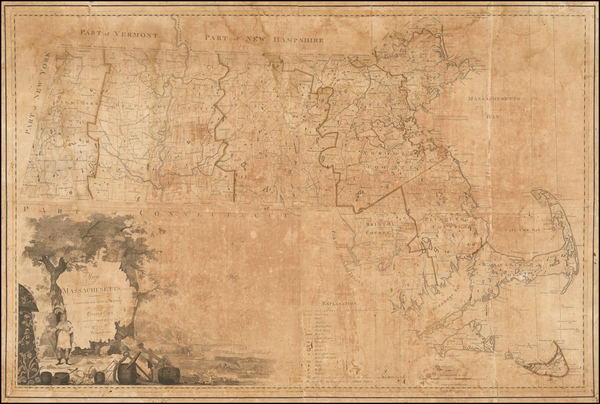 87-New England and Massachusetts Map By Osgood Carleton