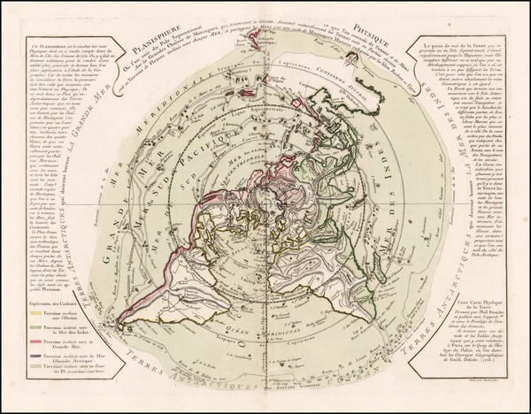 47-Northern Hemisphere, Polar Maps, Alaska and Canada Map By Philippe Buache