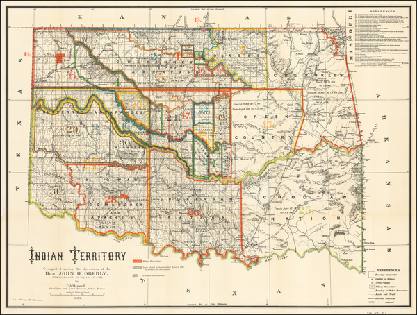 55-Plains and Oklahoma & Indian Territory Map By C.A. Maxwell  &  John Olberg