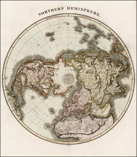 97-Northern Hemisphere, Polar Maps and Alaska Map By John Thomson