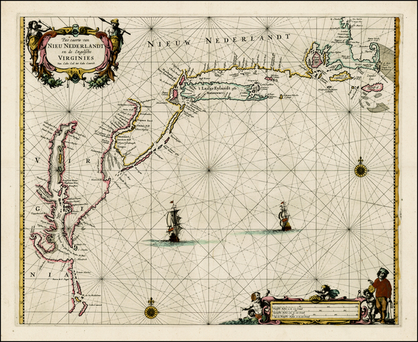 87-New England, New York State, Mid-Atlantic and Southeast Map By Pieter Goos