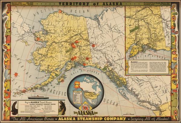 82-Alaska Map By Alaska Steam Ship Company