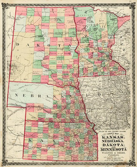 47-Midwest and Plains Map By H.H. Lloyd  &  Warner & Beers