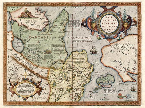 15-Asia, Japan, Central Asia & Caucasus and California Map By Abraham Ortelius