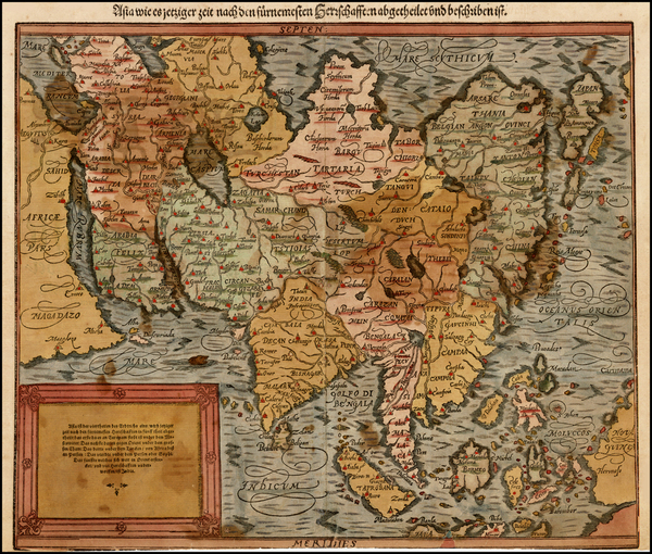 59-Indian Ocean, Asia, Asia, Japan and Southeast Asia Map By Sebastian Munster