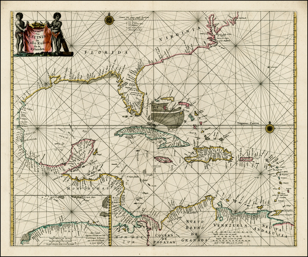 59-Florida, Southeast, Mexico and Caribbean Map By Pieter Goos