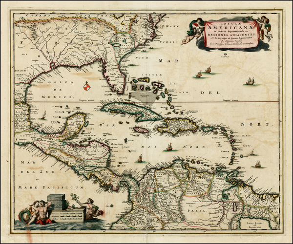 46-South, Southeast and Caribbean Map By Nicolaes Visscher I