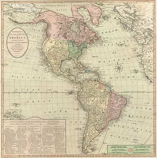 96-South America and America Map By Carrington Bowles  &  Jonathan Carver