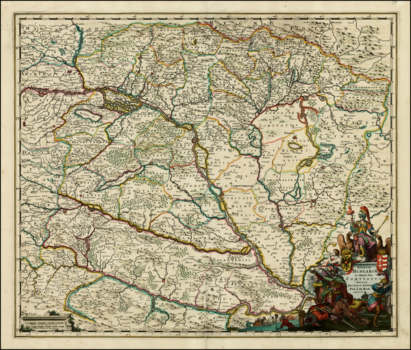 42-Austria, Hungary and Balkans Map By Johannes De Ram