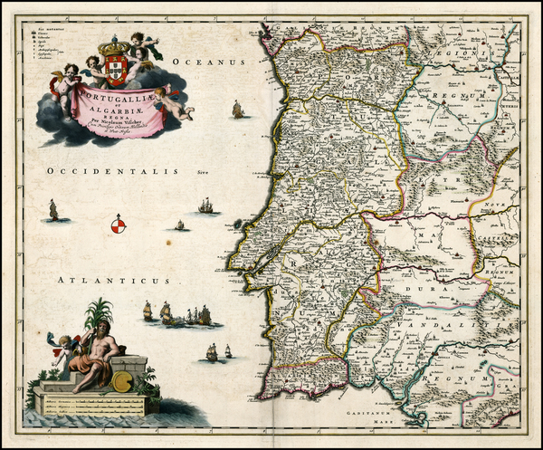 9-Portugal Map By Nicolaes Visscher I
