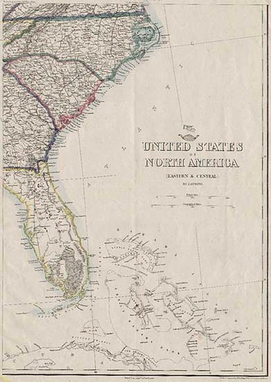 94-Southeast and Caribbean Map By Theodore Ettling  &  Day & Son