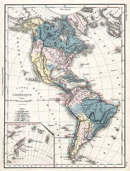 4-South America and America Map By E. Cortambert