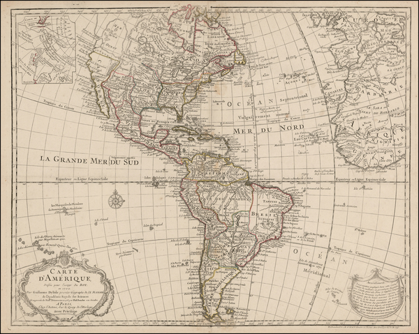 65-South America and America Map By Guillaume De L'Isle / Philippe Buache