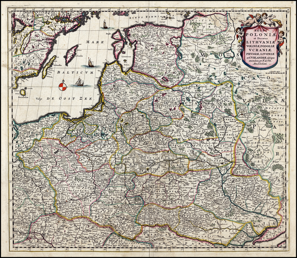 27-Poland, Russia, Ukraine and Baltic Countries Map By Frederick De Wit / Abraham Wolfgang