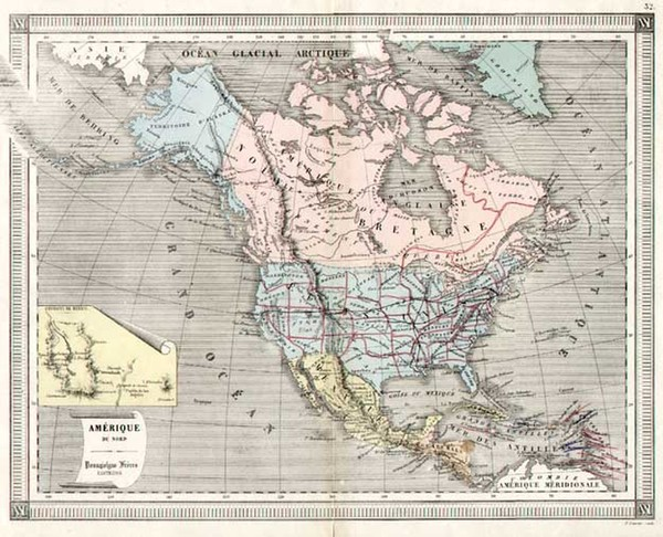 73-United States, Alaska, North America and Canada Map By Doussielgen Freres