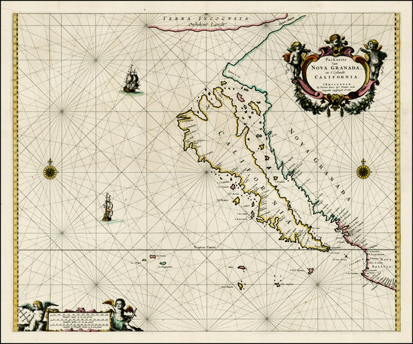 77-Southwest, North America, Baja California, Pacific and California Map By Pieter Goos