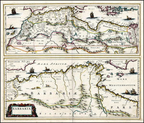 48-North Africa Map By Johannes Blaeu / Abraham Wolfgang