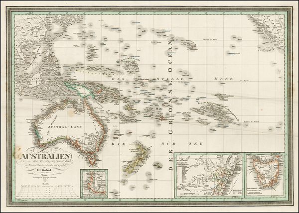 86-Australia & Oceania, Australia, Oceania and Other Pacific Islands Map By Carl Ferdinand Wei